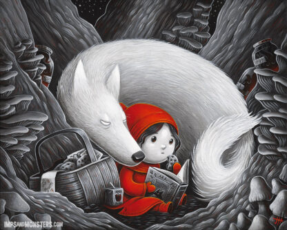 Red Riding Hood reading with a wolf