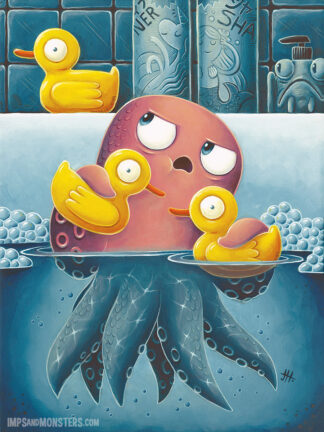 Acrylic painting of squid and rubber ducks
